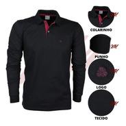 Camisa Gola Polo Manga Longa Meia Malha Sudotex Tecido Macio