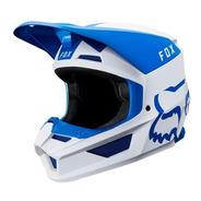 Casco V1 Mata Azul Blanco Motocross Visera Magnetica Fox