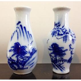 Petit Violeteros Florero Ánfora Porcelana China Azul Cobalto