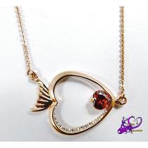 Collar Rodio Oro Rosado Pez Pescado Navidad C/caja Corazón