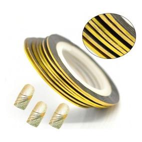 Rolo De Fita Adesiva Para Unha, Dourado Metalizado E Prata