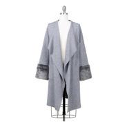 Suéter Abrigo Largo, Abierto, Con Fuax Fur, Elegante.
