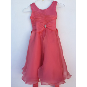 Vestido de fiesta color coral ninas