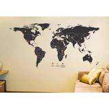 Adesivo Mapa Mundi Viagem Mochileiro Decoração Pins Marcação