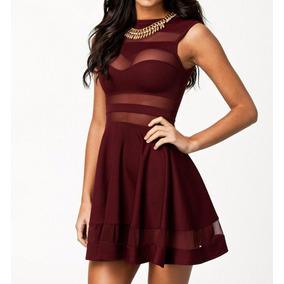 Vestido Rojo Vino Con Transparencias Va 177