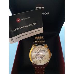 7b148de3aa2 Relógio Techonos Banhado A Ouro. R  600