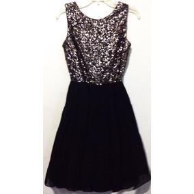 Vestido Hypr Negro Top C/ Lentejuela T M Falda Tableada C12
