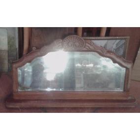 Vintage Antiguo Espejo Madera Repisa Perchero Marco