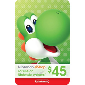 Cartão Nintendo Usa 3ds Wii-u Switch Eshop Card $45 Dólares