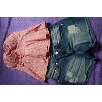 Conjunto Blusa Tomara Que Caia E Short Jeans Tam. 40