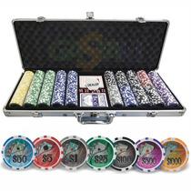 Maleta Poker Pôquer Profissional 500 Holográficas Numeradas