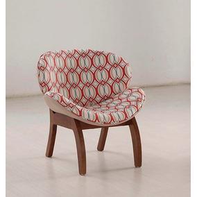 Poltrona Cadeira Decorativa Grécia Pés Em Madeira