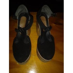 Zapatos Alto Negro C/ Taco Madera