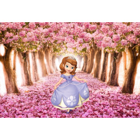 Painel Banner Infantil 2x1,5 Ipê Rosa E Princesa Sofia