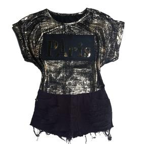 Blusa Feminina Metalizada Escrita Em Espanhol Dourada Paris
