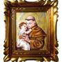 Quadro Icone Santo Antonio 40x35cm C/moldura Óleo Sobre Tela
