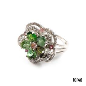 Anel Prata Turmalina Verde Turmalina Rosa Zircônia Ref 17748
