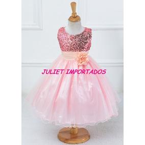 Vestido Infantil Menina Rosa Paetê Importado 9 - 10 Anos