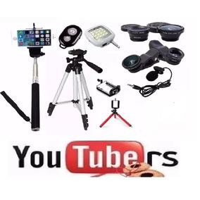 Kit Youtuber Mini Tripé Flexível Lapela Tripé 1,20m Selfie
