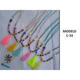 Collar Largo Con Mostacillon Y Borla/ Colores