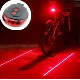 Luz Trasera 5 Led + 2 Rayos Láser Alto Brilo Bicicleta Cicla