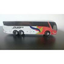 Miniatura De Ônibus Em Madeira Viação Pluma S/ Retrovisor