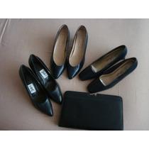 Lote De 3 Pares De Zapatos Azules Y Una Bolsa
