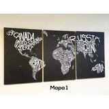 Cuadros Triptico Mapa Mundi Cuerina 120x55 Cm Total