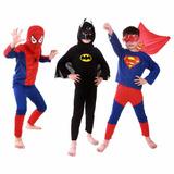 Fantasia Infantil Longa Homem Aranha Super Homem E Batman