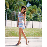 Vestido Tricô Tricot Modelo Alça Moda Verão Roupas Femininas