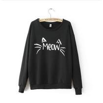 Moletom Feminino Careca Gato Meow Bigodinho Blusa De Frio