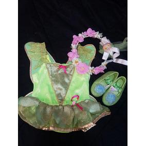 Disfraz De Campanita Con Zapaticos Y Corona De Flores 1-2año