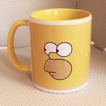 Taza Personalizada Homero Simpson Amarilla Asa Y Fondo Color
