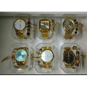 Kit C/7 Relógios Feminino Dourado+caixas+pulseira Atacado
