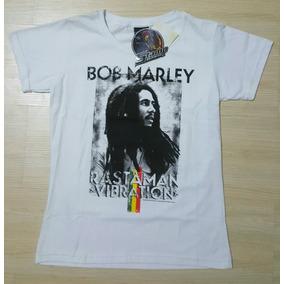 Camiseta Baby-look Feminina Stamp Rock Reggae Bob Marley M