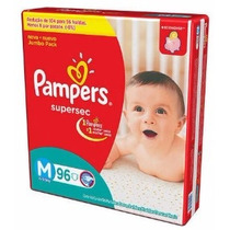 Fraldas Pampers M Supersec Jumbo - 96 Unidades