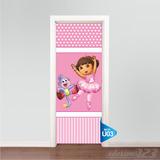 Adesivo Para Porta Parede Dora Bailarina Rosa U03