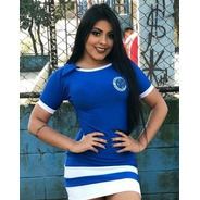 Vestido Curto Feminino Moda Casual Roupa Time Do Cruzeiro