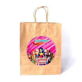 Sacola De Papel Kraft Personalizada Dc Super Heroes Girls