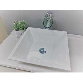 Cuba Pia De Apoio Quadrada 36cm Para Banheiro Branca - Gaia