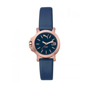 Reloj Puma Dama Pu104082005 Oro Rosa Piel Azul Wr50 Original