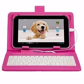 Capa Teclado P/ Tablet 7 Polegadas Rosa Multilaser V8 Usb