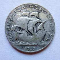 Moneda Portugal 5 Escudos 1947 Plata