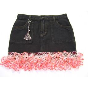 Mini Saia Jeans 38 Com Babados De Crochê Moda Ativa F6