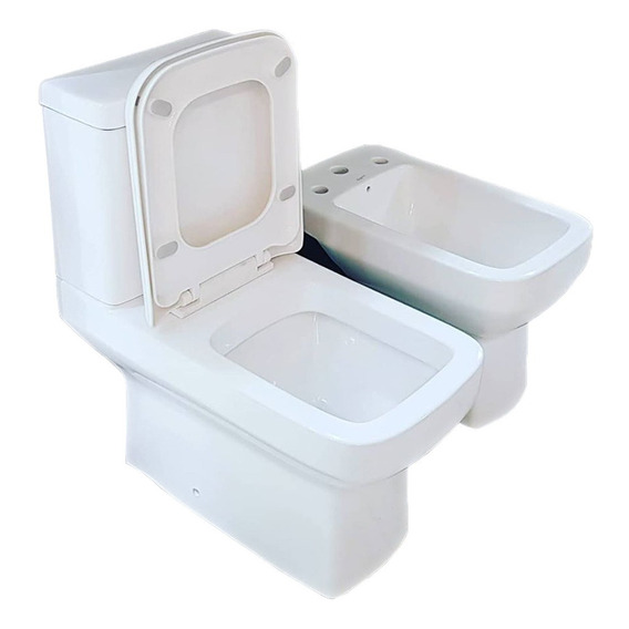 Sanitarios Dioniso Moderno Premium Inodoro Largo Bide Mochila Apoyada Tapa Loza Sanitaria Eterna Brillante Blanca