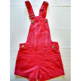 Jardineira Infantil Em Jeans Rosa Com Detalhe Laise ! Nova