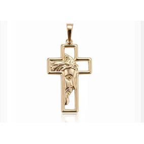 Cruz Medio Rostro Cristo Oro Laminado 14k