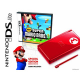 Nintendo Ds Lite Edición Limitada Mario Rojo Con Nuevo Supe