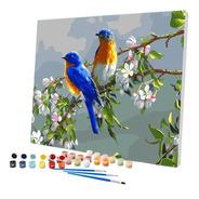 Pintura Numerada Pardais Na Primavera_p2