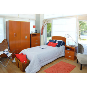 Dormitorio Juvenil Cama 1+mesa Luz+ropero+chifonier Mosconi
